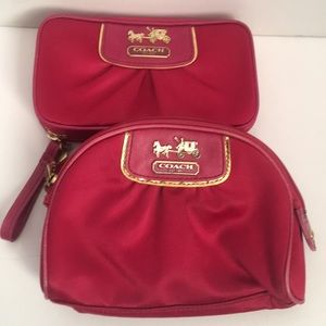 Coach Fuschia Satin Wallet and Cosmetic Bag Bundle